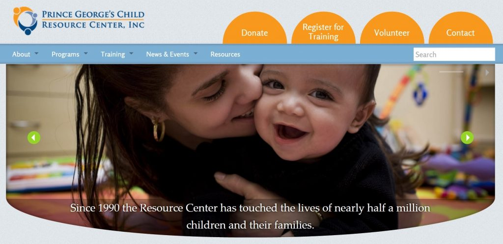 The website we designed for the Prince George's Child Resource Center