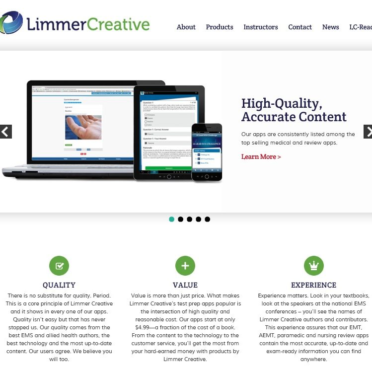 The website we recently designed for Limmer Creative follows the Z-pattern.